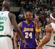 BOSTON - FEBRUARY 5:  Kobe Bryant #24 of the Los Angeles Lakers argues with Rajon Rondo #9 of the Boston Celtics on February 5, 2009 at the TD Banknorth Garden in Boston, Massachusetts.  NOTE TO USER: User expressly acknowledges and agrees that, by downloading and or using this photograph, User is consenting to the terms and conditions of the Getty Images License Agreement. Mandatory Copyright Notice: Copyright 2009 NBAE  (Photo by Brian Babineau/NBAE via Getty Images)