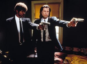 Pulp Fiction (1994) Directed by Quentin Tarantino Shown from left: Samuel L. Jackson (as Jules Winnfield), John Travolta (as Vincent Vega)