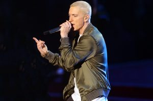 LOS ANGELES, CA - APRIL 13:  Rapper Eminem performs onstage at the 2014 MTV Movie Awards at Nokia Theatre L.A. Live on April 13, 2014 in Los Angeles, California.  (Photo by Frederick M. Brown/Getty Images)